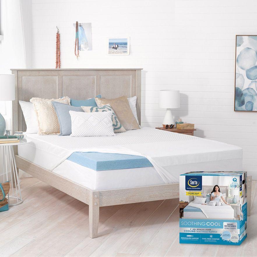 Serta 3 Inch Soothing Cool Gel Memory Foam Mattress Topper White Memory Foam Mattress Topper Foam Mattress