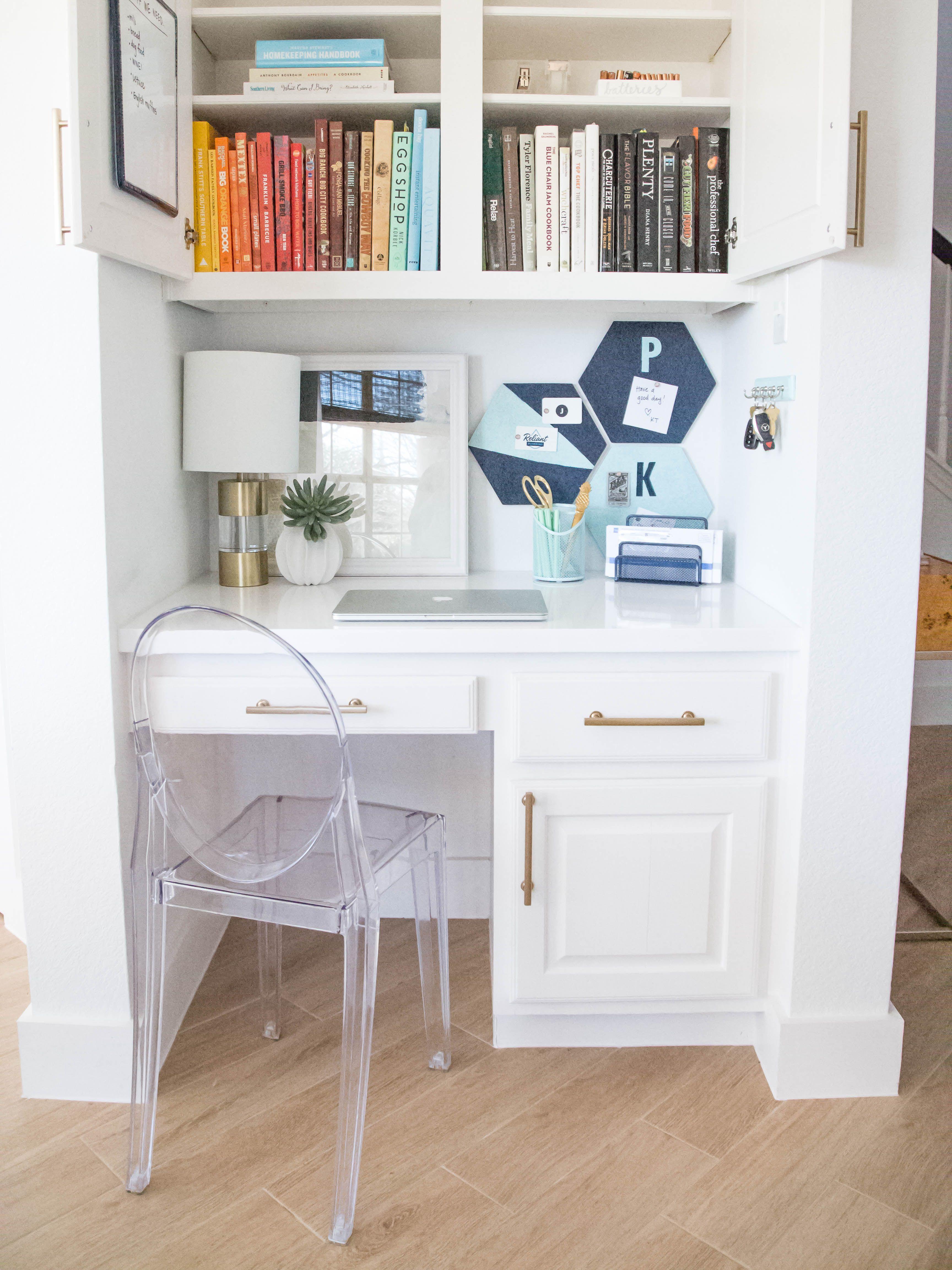 Diy Kitchen Command Center Spray Paint Chardonnay Home Office Storage Kitchen Desk Organization Kitchen Desks