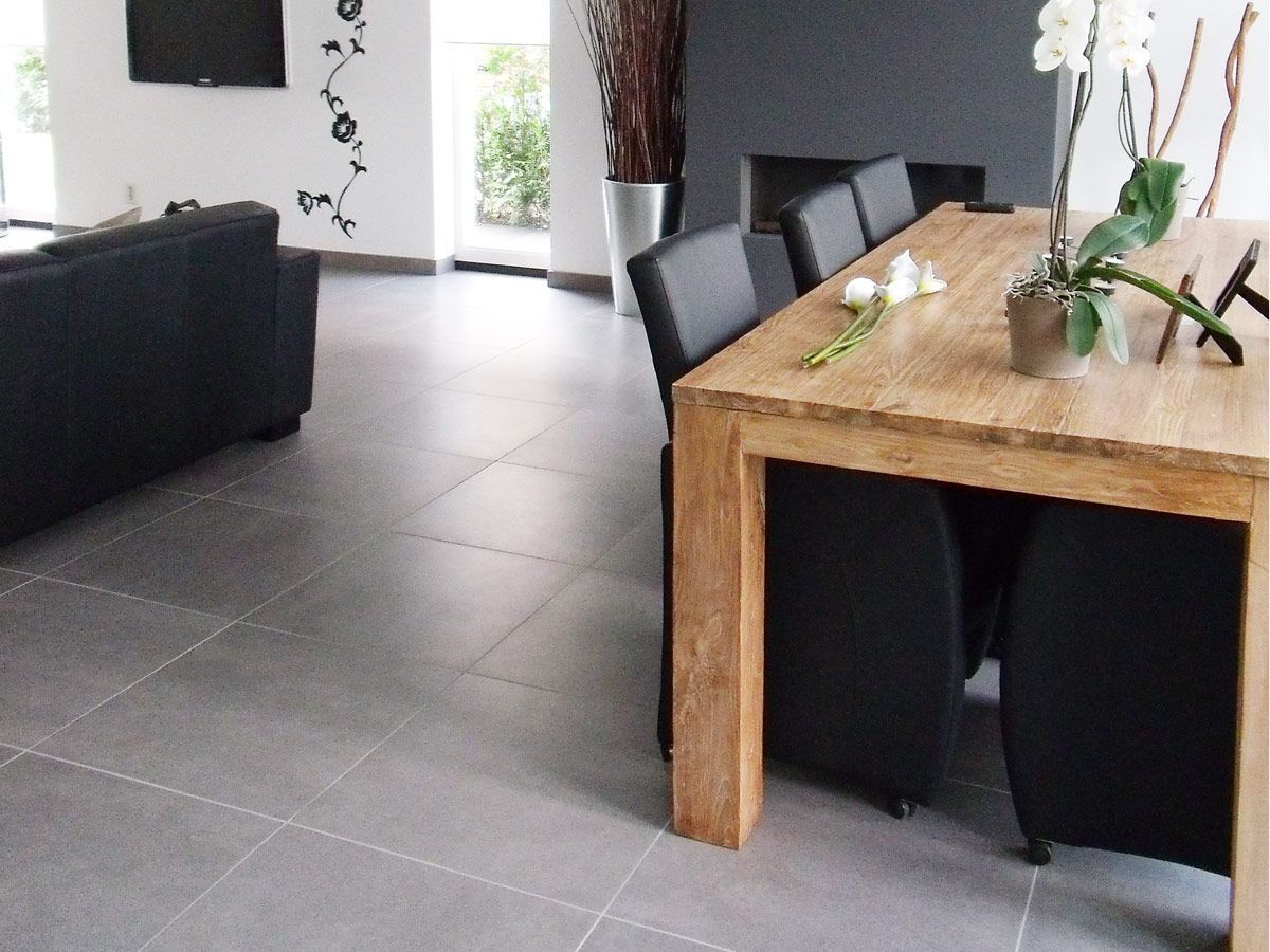 Afbeeldingsresultaat voor grijze tegels eiken meubels   Woonkamer ...