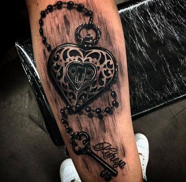 e858014c4 50 Inspiring Lock and Key Tattoos | Ink'd | Key tattoo designs, Key ...