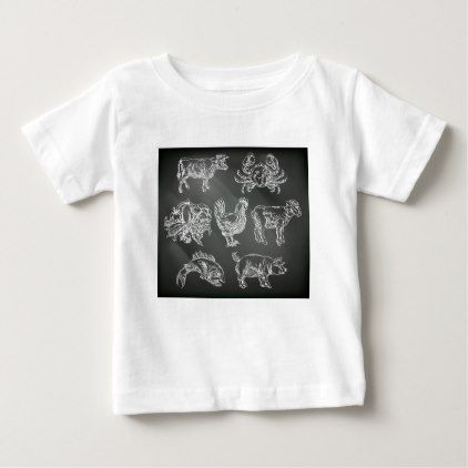 food groups chalk hand drawn animal icons baby t shirt chalkboard gifts