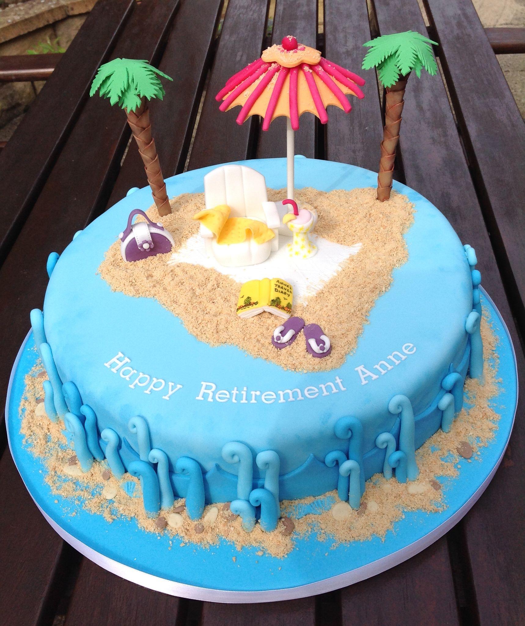 Beach Themed Retirement Cake