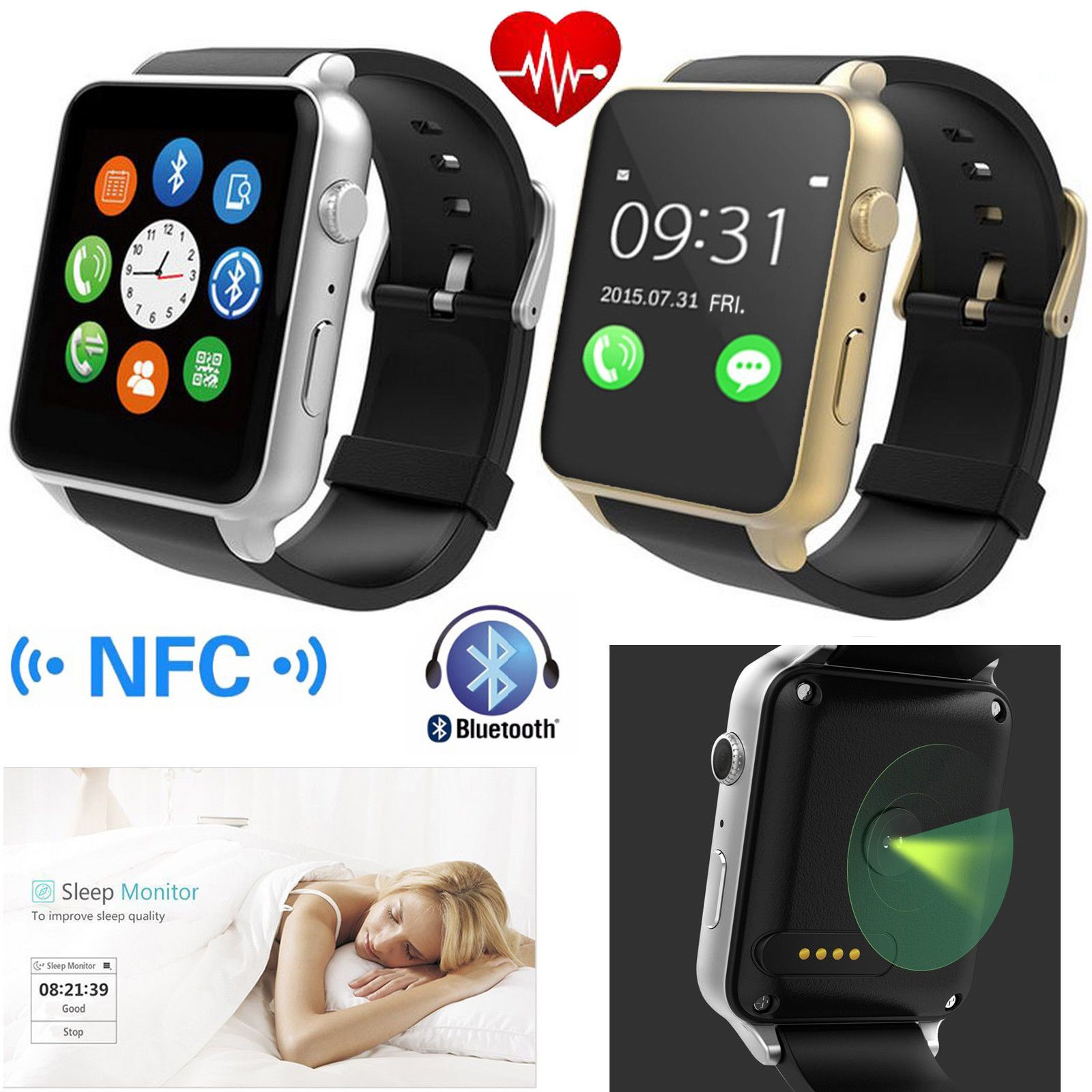 Bluetooth Smart Watch Heart Rate Monitor For Samsung iPhone LG HTC Huawei Nokia
