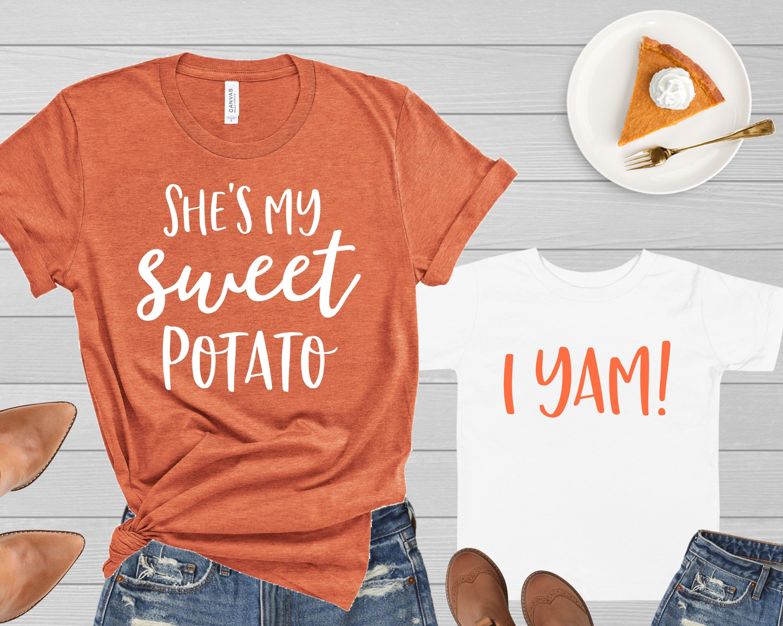 Mommy and Me Thanksgiving Shirts He's She's My Sweet Potato I Yam Funny Tshirt Mother Daughter Son Mom Baby Toddler Kid Boy Girl Fall Shirt