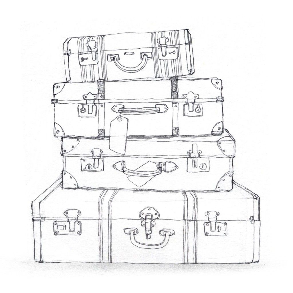 Black And White Suitcase Clipart