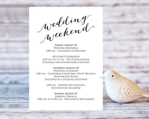 Wedding Weekend Itinerary Details Card Insert Wedding Information