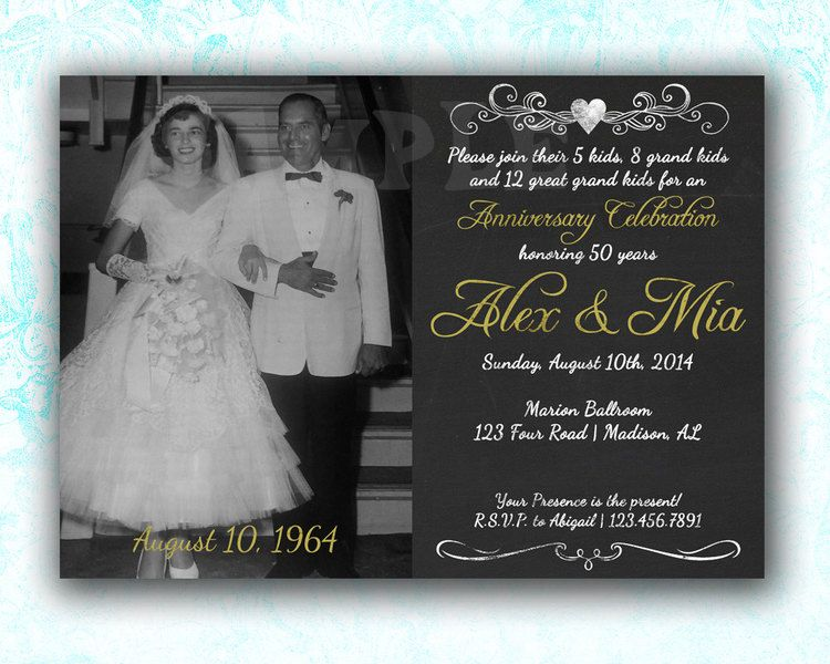 50th Wedding Anniversary Invitation Ideas: Chalk 50th Wedding Anniversary Invitation Gold