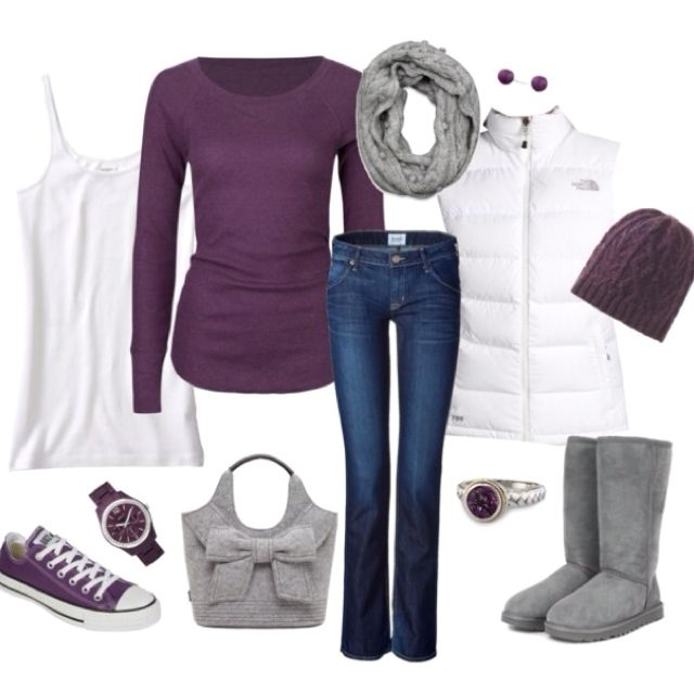 Plum Colors But The Puffy Jacket And Grey Boots Have Got To Go