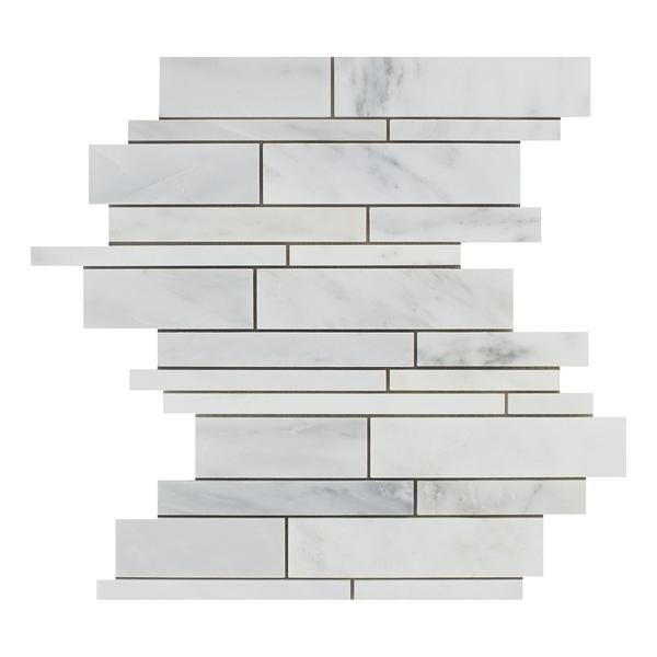 Anatolia Tile Mystique Winter 12 In X 12 In Stone And Glass Linear Marble Mosaic Wall Tile