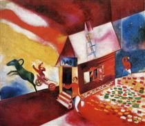 Burning House - Marc Chagall