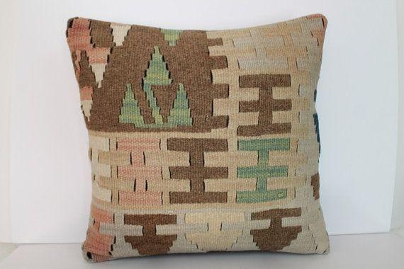 Kilim Pillow 16x16 anatolian patchwork ethnic pillow by MissDilaa