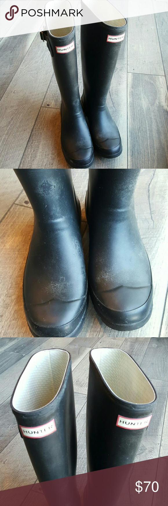 Womens Huntress Hunter Boots Black 6 GUC Preloved Womens Huntress Hunter Boots. Color is black. Could use a good shining. Good used condition.  Please see details in pictures Hunter Boots Shoes Winter & Rain Boots
