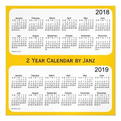 2018-2019 Gold 2 Year Calendar by Janz Magnetic Card - holidays diy
