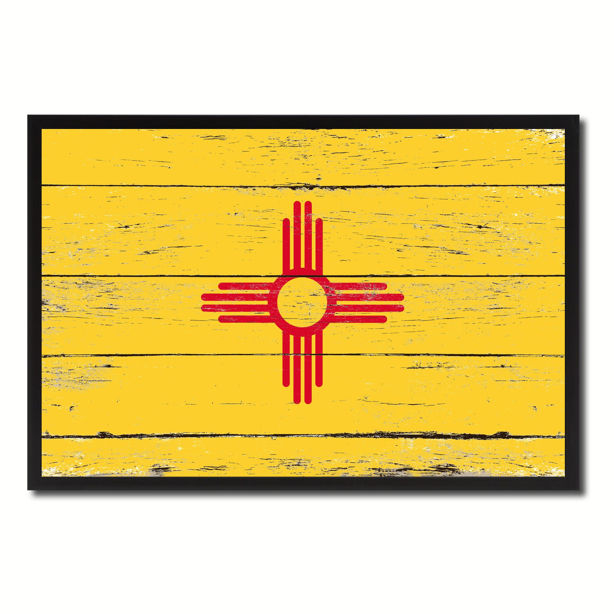 New Mexico State Flag Vintage Canvas Print with Black Picture Frame ...