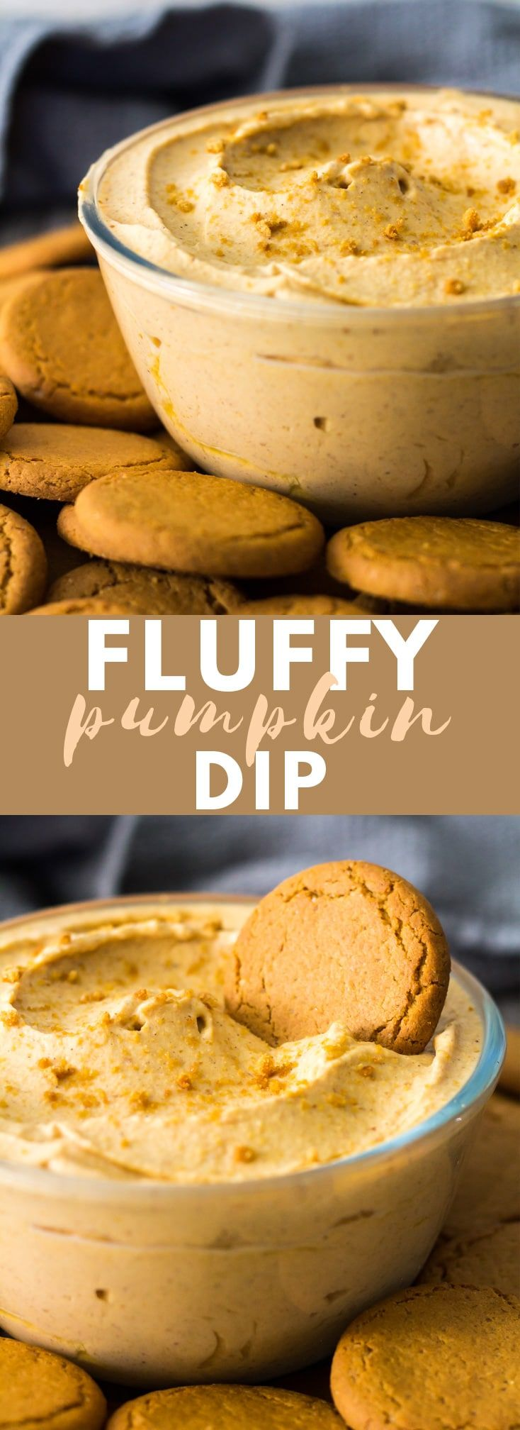 Fluffy Pumpkin Dip - Deliciously light and fluffy whipped pumpkin dip that is loaded with warm spices. Perfect for serving at parties with apple slices, crackers, or cookies! #pumpkin #pumpkindip #nobake #dessert #autumn #fallrecipes #pumpkindip