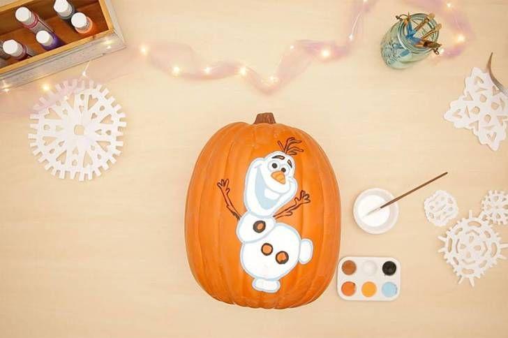 Pumpkin Painting for Halloween Frozen Pumpkin painting, Disney - frozen halloween decorations