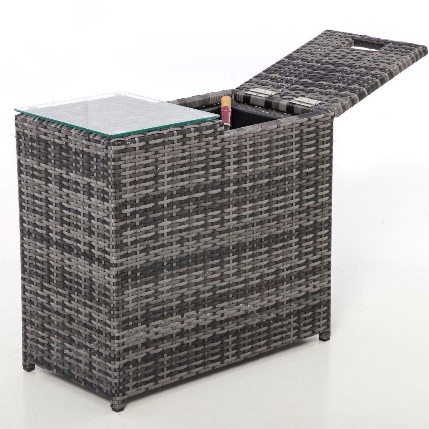 Maze Rattan Garden Furniture Grey Ice Bucket Side Table in 8