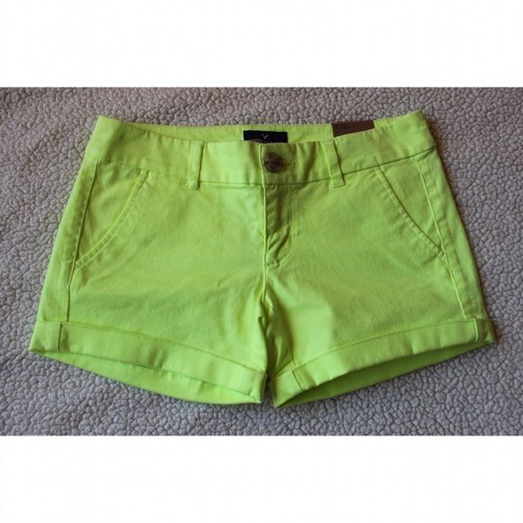 """American Eagle Neon Yellow Shorts Brand new with tags, no flaws. Super cute and great for the spring and summer months. This is the """"stretch"""" so it will have a more comfortable feeling. Open to reasonable offers. No trades. American Eagle Outfitters Shorts Jean Shorts"""