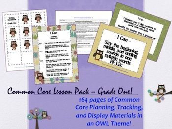Owl Theme Grade One Common Core Lesson Planning Pack  163 pages!  http://www.theorganizedclassroomblog.com/index.php/ocb-store/view_document/184-owl-theme-grade-one-common-core-lesson-planning-pack#  $5.95