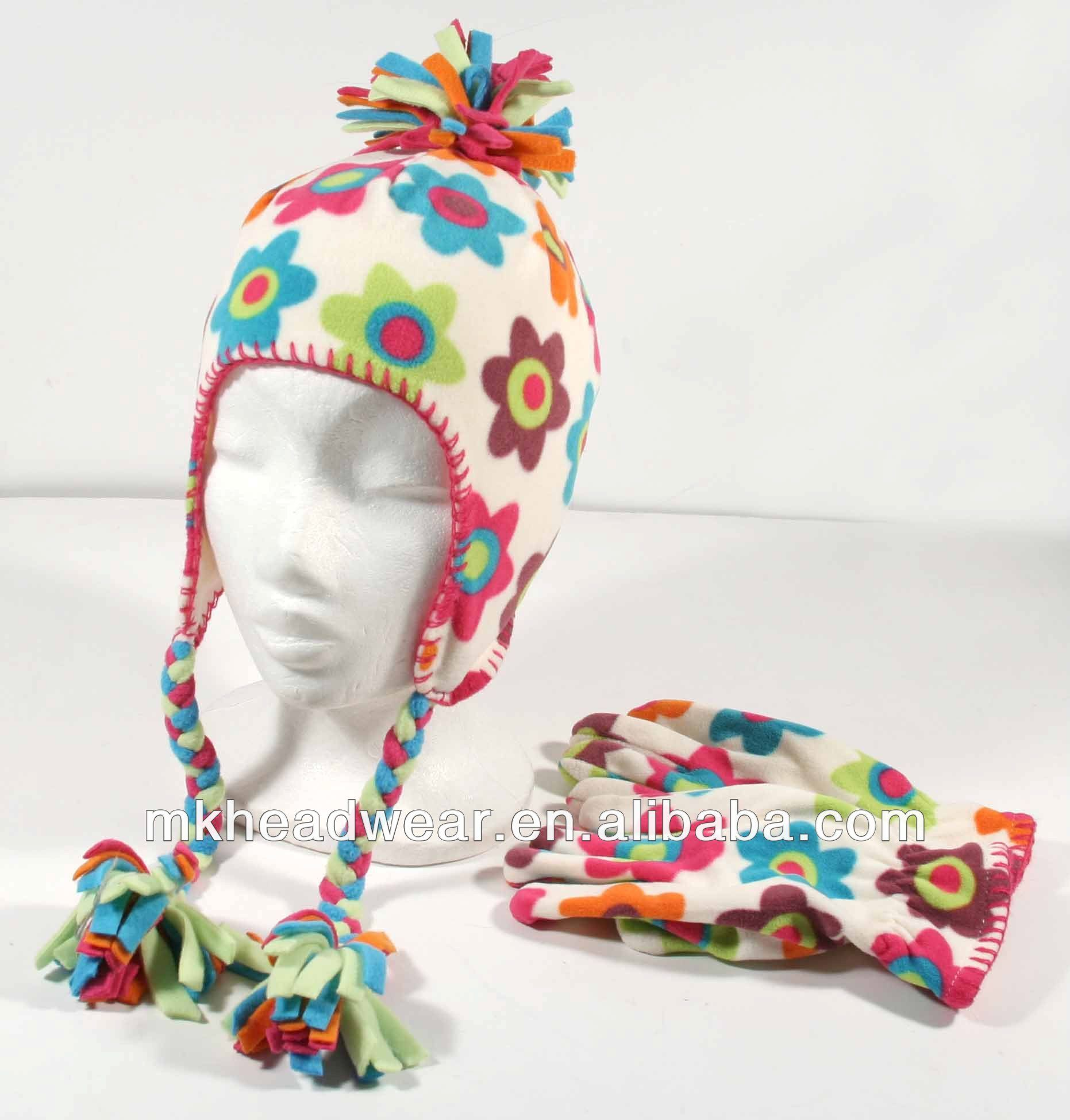 Winter Polar Fleece Earflap Hat And Glove Set With All Over Flower ...