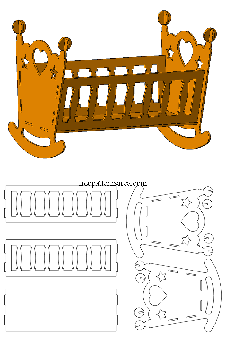 wooden doll cradle laser cut toy plans | wood projects