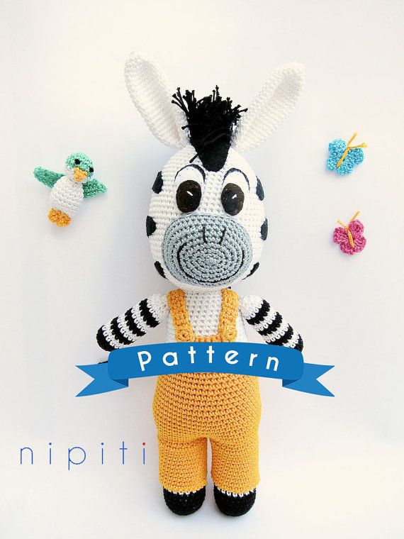 Zou Zebra toy - Crochet Zebra and Poc Bird Pattern - PDF Amigurumi Zebra Zou Pattern