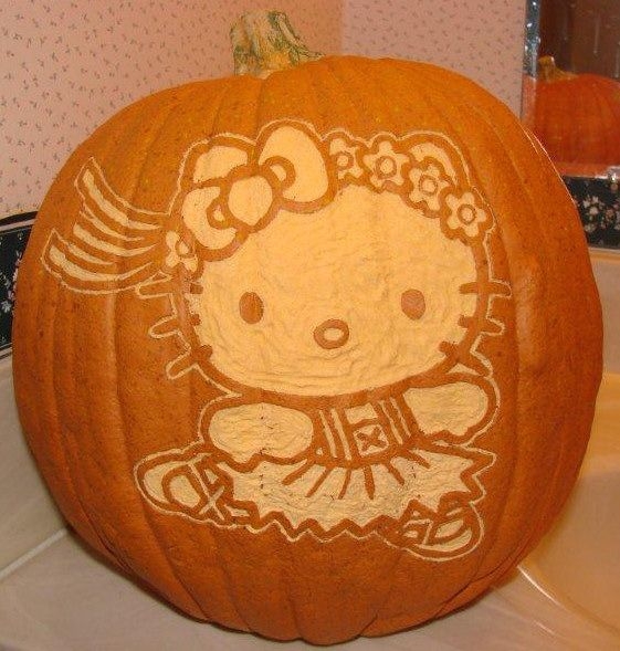 Hello Kitty Pumpkin Design For Reina Halloween Pinterest Hello - hello kitty halloween decorations