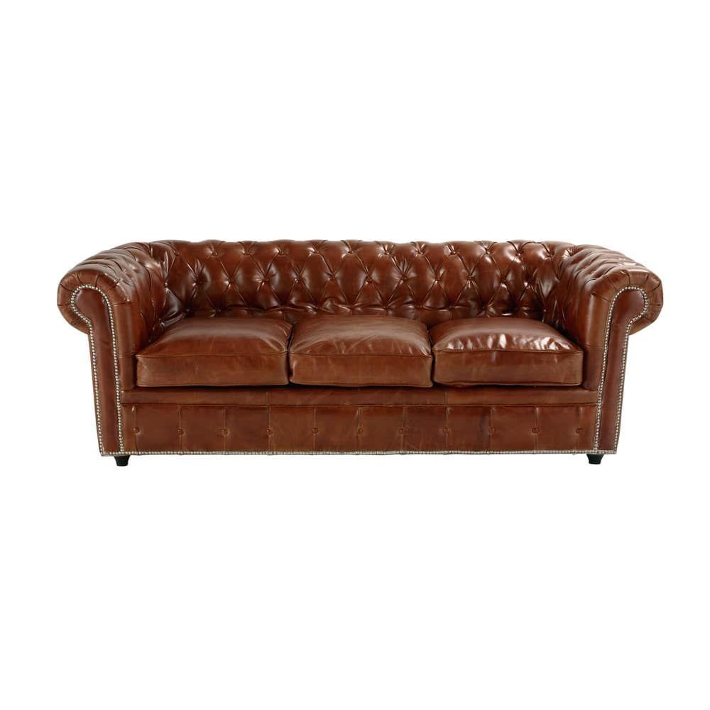 Gestepptes Ausziehbares Sofa 3 Sitzer Aus Leder Braun Maisons Du Monde Ausziehbares Sofa Sofa Sofas