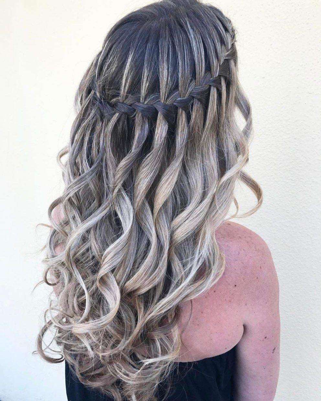 Curly hairstyle with waterfall braid womenshairstyleslongbalayage
