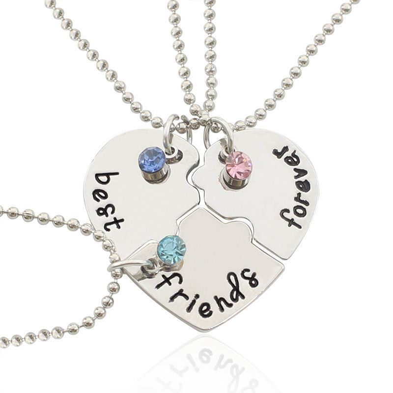 Best Friend Forever Necklace Sets 3 Pieces Puzzle Collares De La