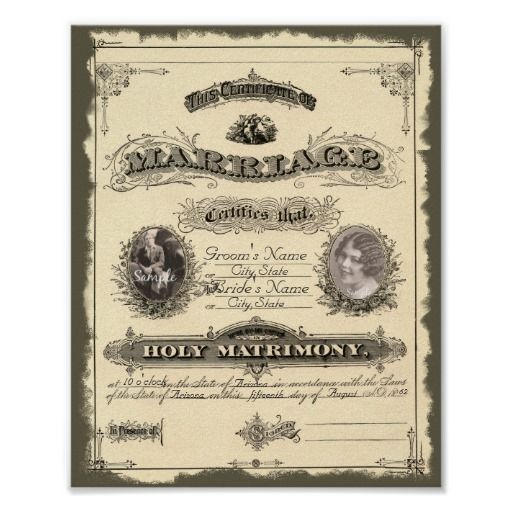 Vintage 1800u0027s Marriage Certificate Poster Marriage certificate - copy free fake marriage certificate