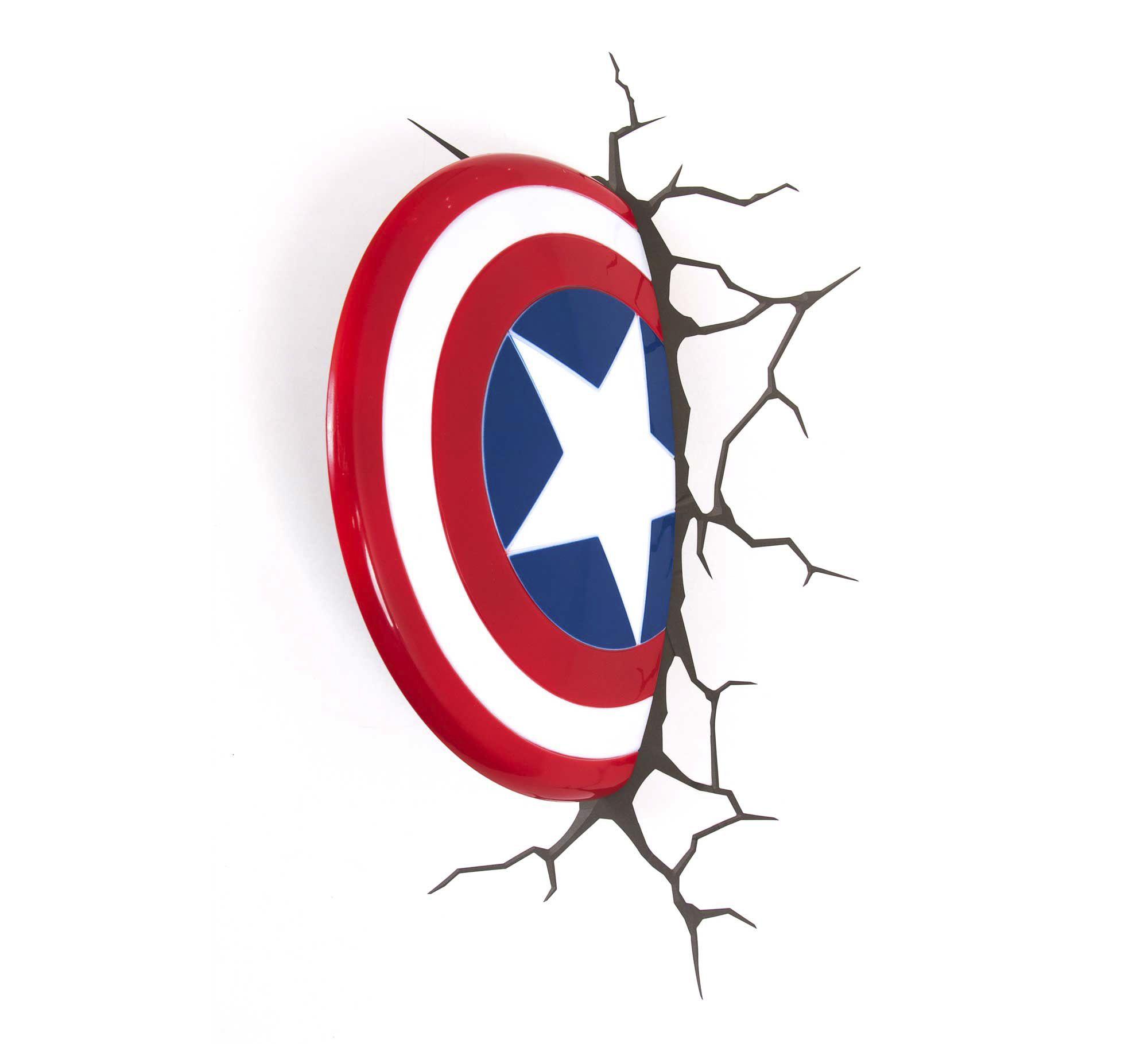 Luminaria 3d Parede Marvel Escudo Cap America Etna Capitao