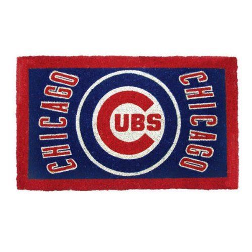 """MLB Chicago Cubs Welcome Mat by Team Sports America. Our large 18"""" x 30"""" team logo welcome mats have been uniquely crafted by skilled Indian artisans using centuries of old traditional methods. These licensed team logo mats are wholly natural products and are fully bio-degradable. Made of 100% coconut coir. Each mat features your favorite team's logo and a unique design that is featured in full color. Enviromentally safe product."""