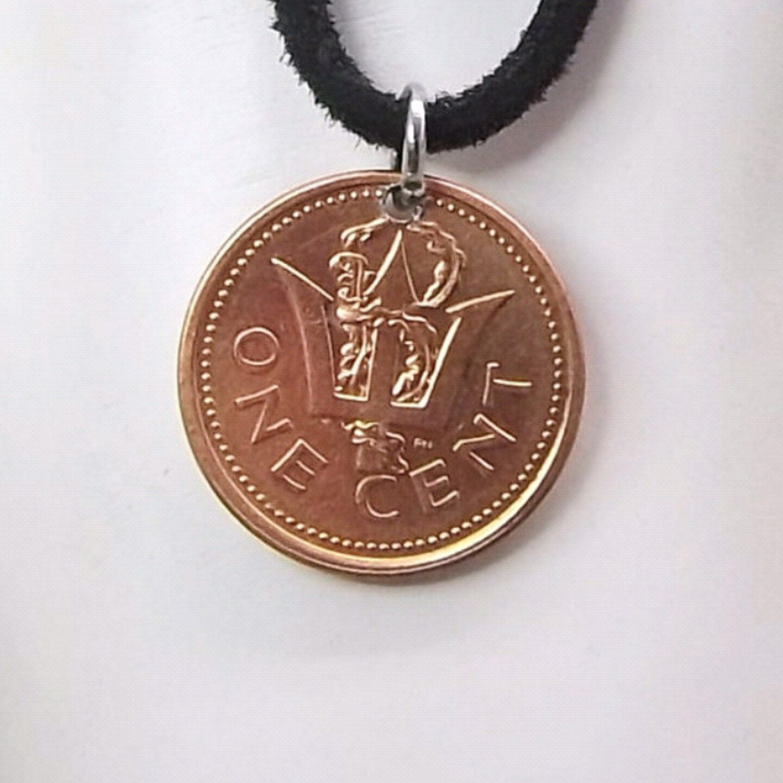 Necklace made with a 1997 Barbados coin.