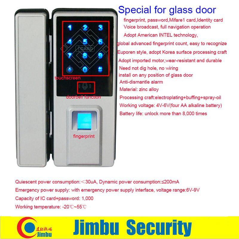 Fingerprint Lock For Glass Door Support By Card Password Remote Control Open And Alarm When Break