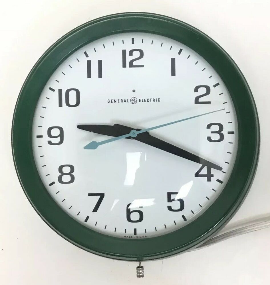 Rare Green General Electric Ge 2008 A Wall Clock 10 5 120v 60hz Made Usa Ge Wall Clock Clock General Electric