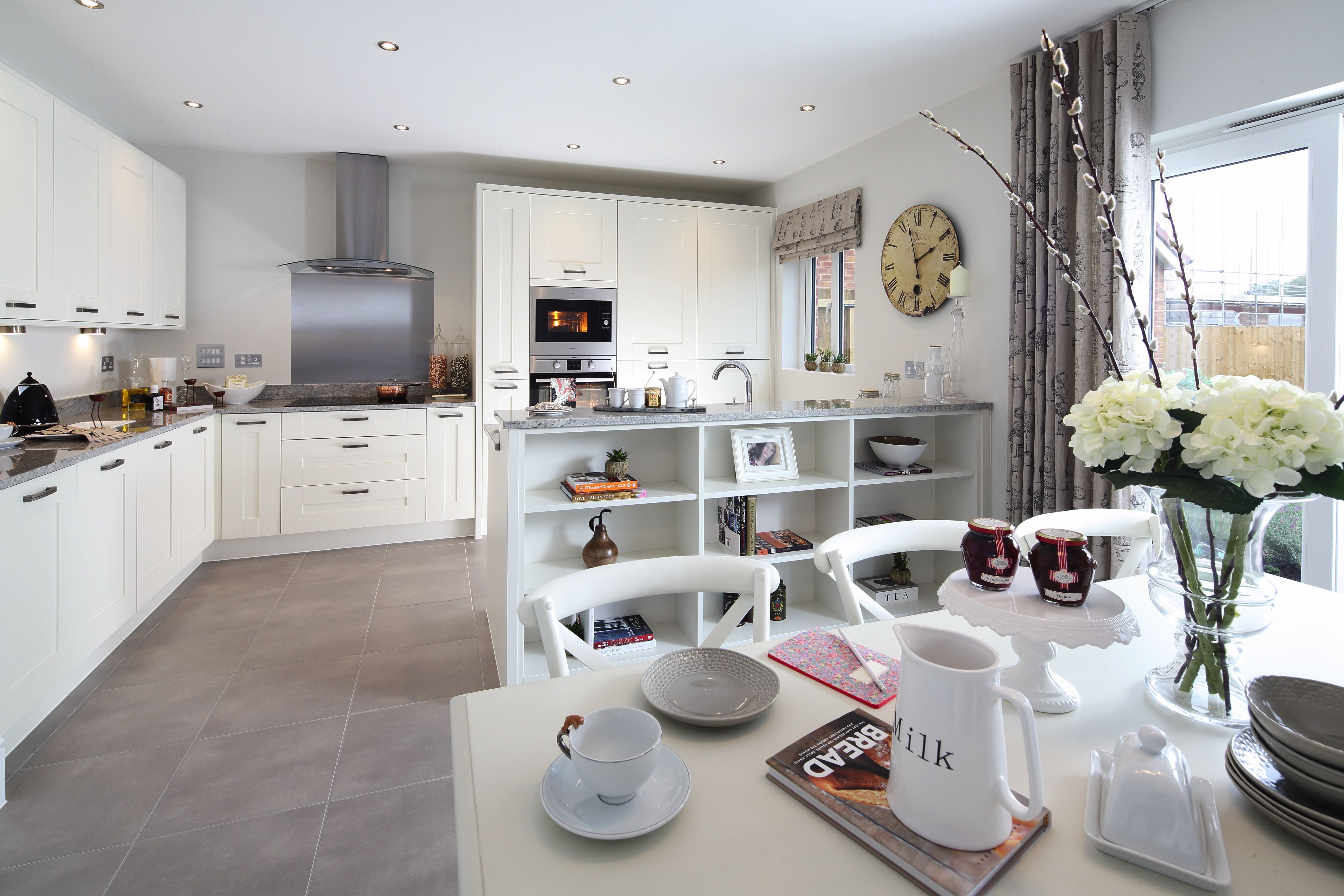 Fresh Open Plan Kitchen With Modern Clean Colours Hotlooks