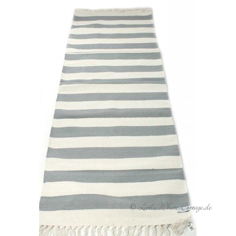 Streifen Teppich   Läufer Baumwolle grau natur - teppich läufer küche