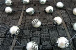 Roni Blanshay Bulb Crystal Encrusted Pearl Necklace with Swarovski Crystals on Black Leather Cord