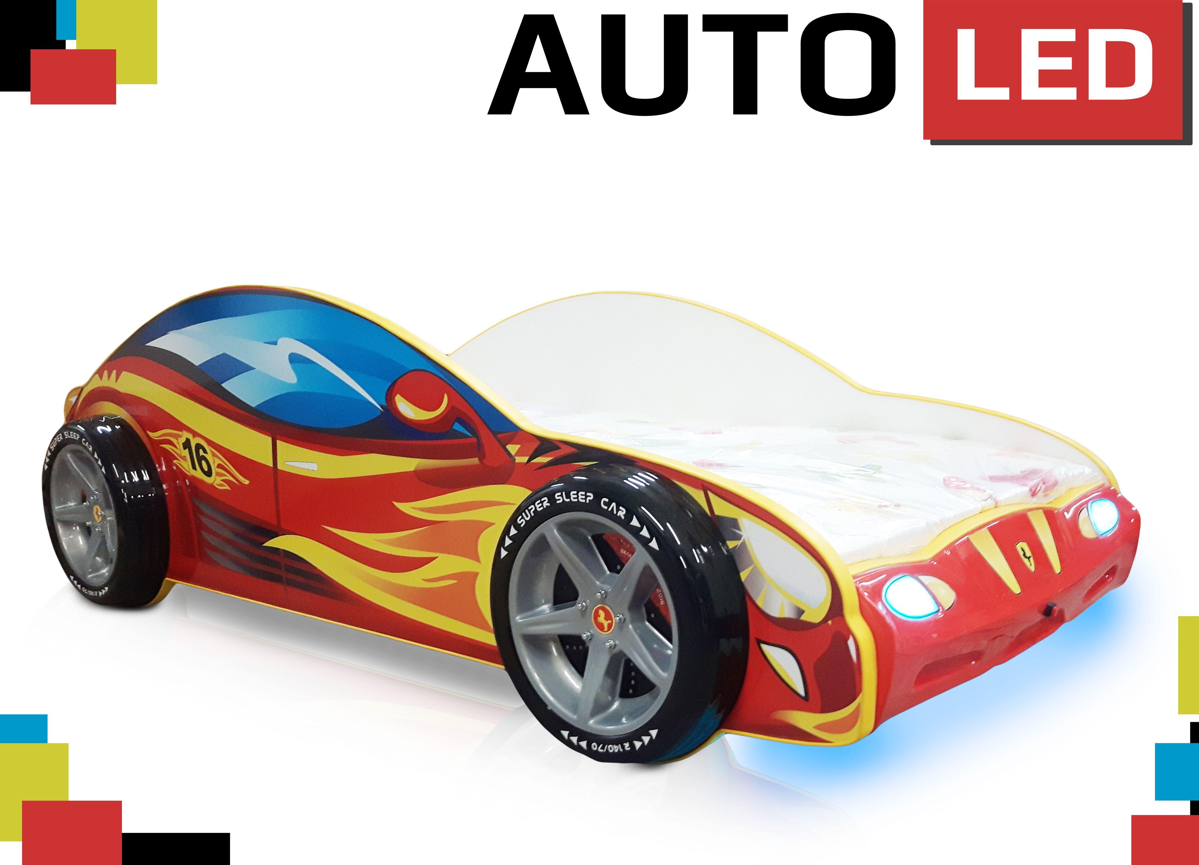 Samochody Z Podswietleniem Led Z Felgami I Swiatlami Lozka Z Materacem W 2 Rozmiarach Sports Car Car Car Led