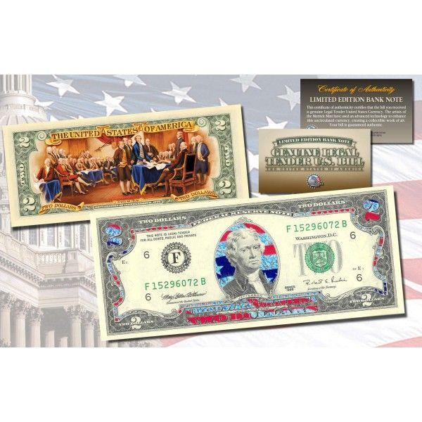 FLAG SERIES $2 U.S Genuine Legal Tender Bank Note UNITED KINGDOM Bill