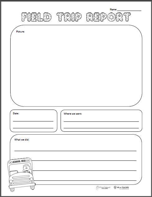 Free Printable Of The Week Field Trip Report Grades K  Field