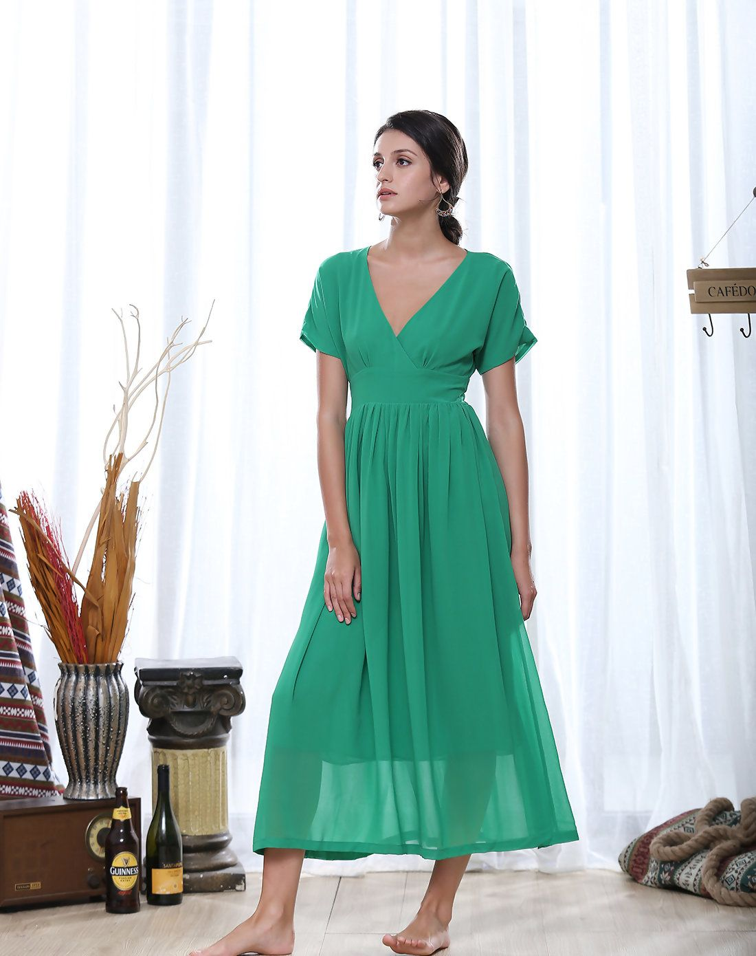 Adorewe anvi ye green v neck chiffon maxi dress adorewe anvi