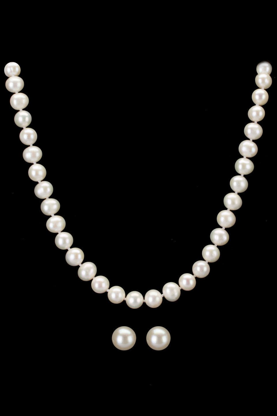 Clic Freshwater Pearl Necklace Earrings In White Princess Length