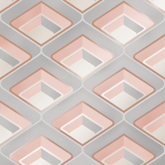I Love Wallpaper Retro Geometric 3d Effect Wallpaper Blush Boys Bedroom Wallpaper Love Wallpaper Geometric Wallpaper