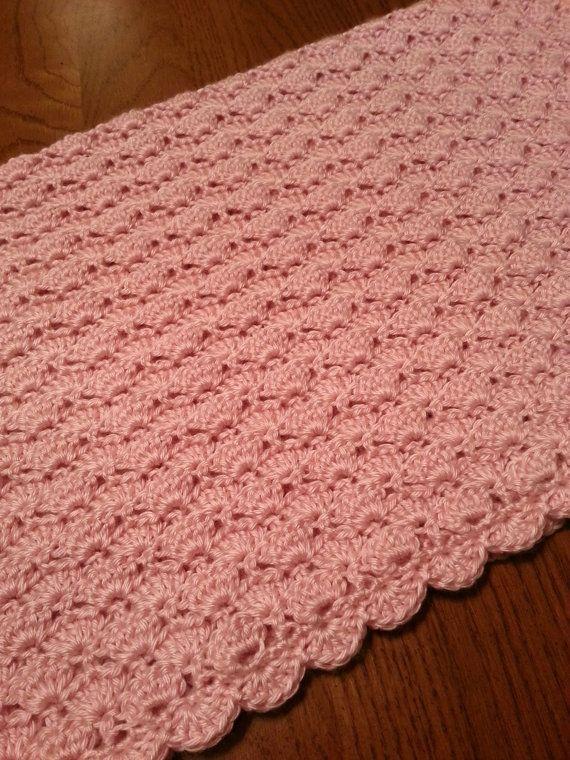 Crochet Shell Baby Blanket Christening Blanket White Baby Blanket ...