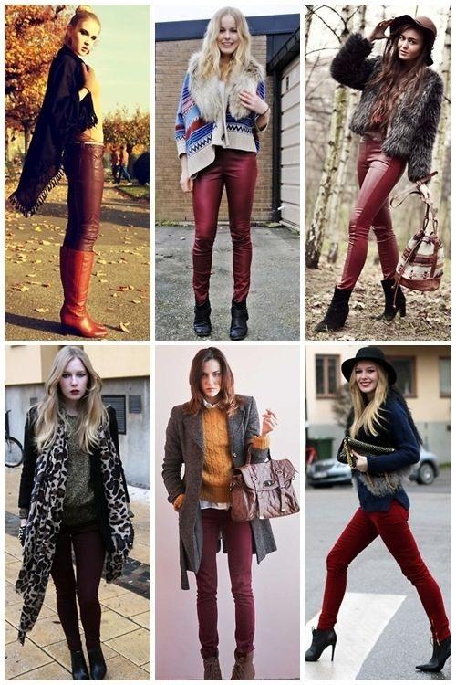 f1eff1962f pantalón Burdeos Pantalones Vino