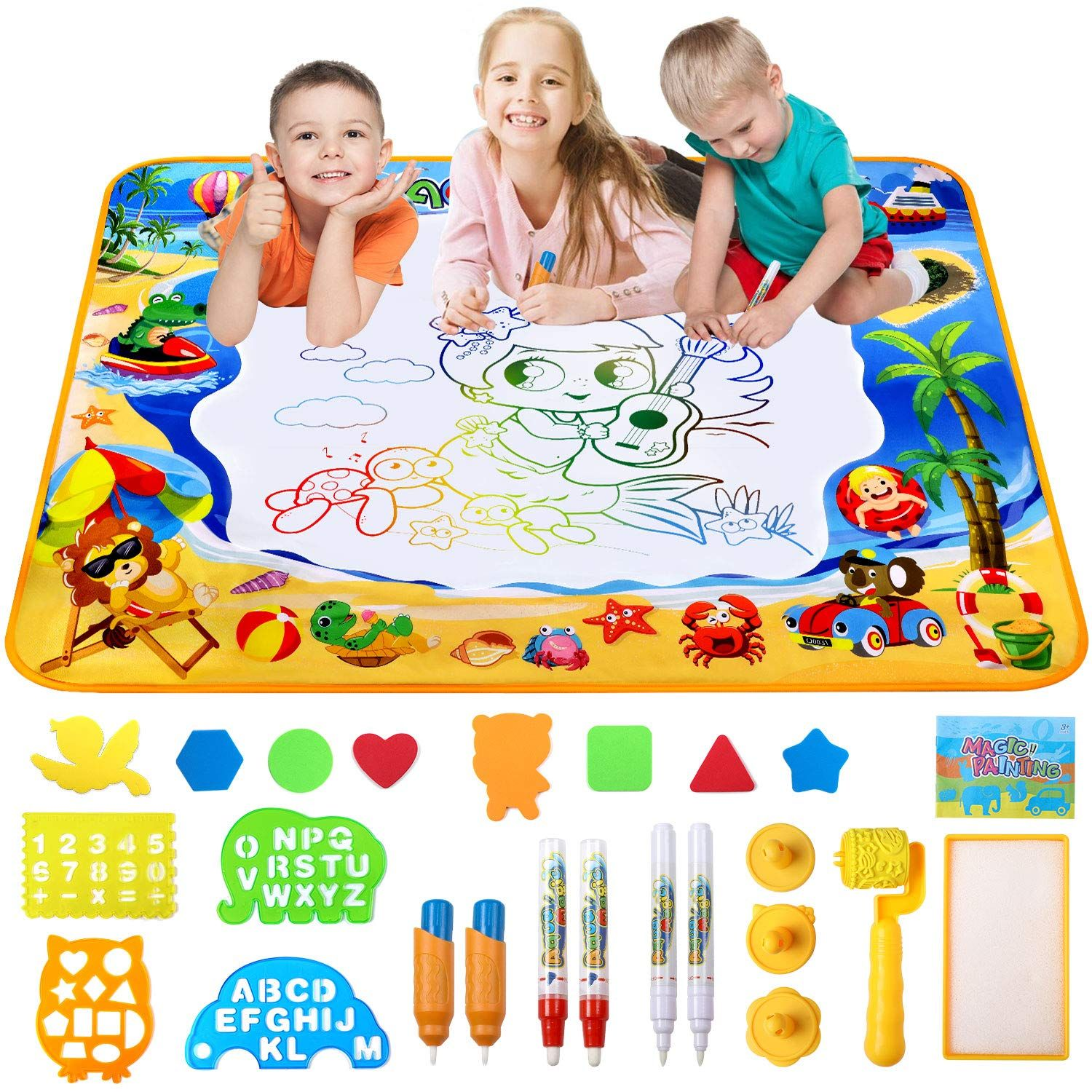 Water Drawing Mat Magic Drawing Mat For Kids Educational Toys For Ages 1 40 X 28 Walmart Com Learning Toys For Toddlers Funny Baby Toys Toddler Gifts