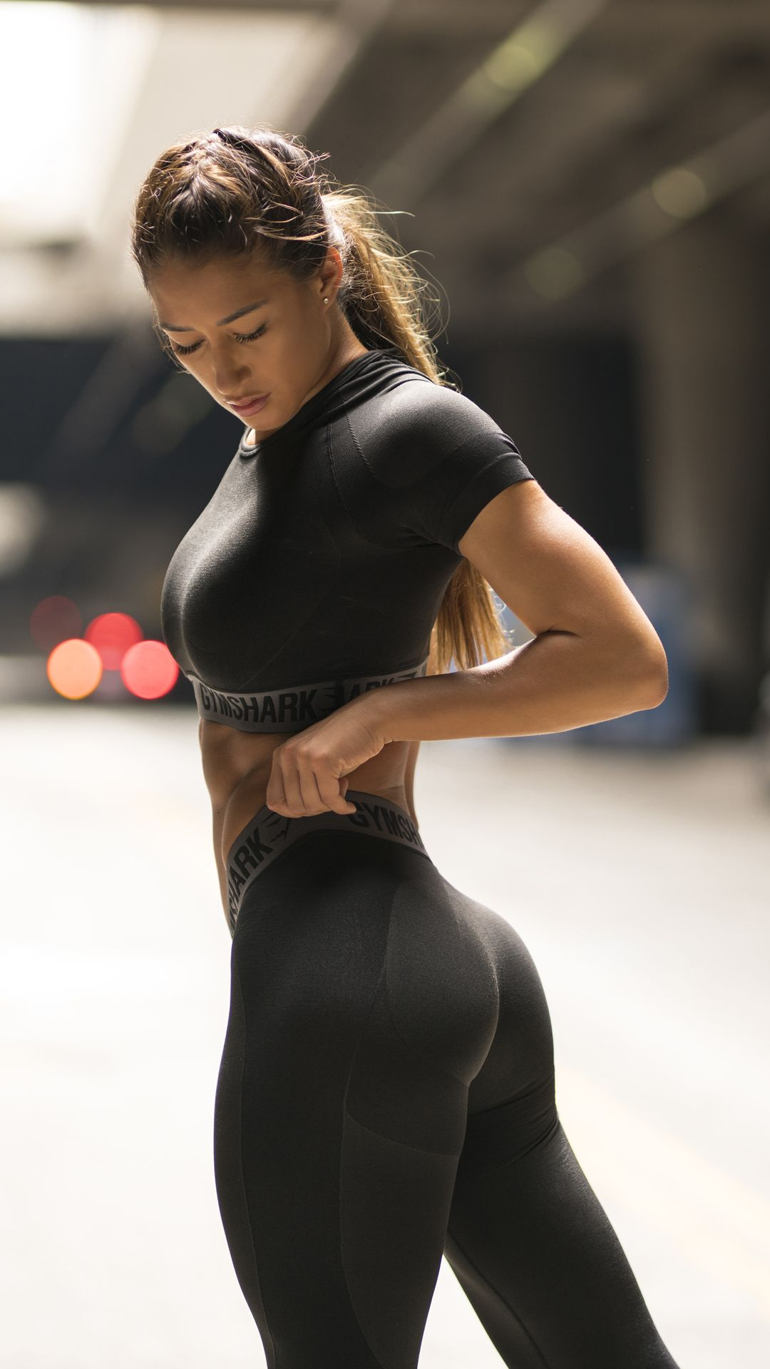 gymshark flex crop top - black marl/charcoal | flex leggings, black