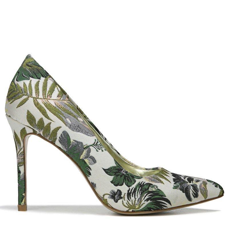 Carlos BY Carlos Santana Women's Posy 2 Pump Shoes (White Floral Fabric) # pumps